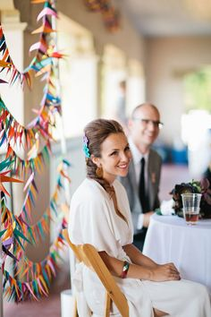 We love this pretty geometric rainbow garland backdrop - simple, and very Art Deco inspired.
