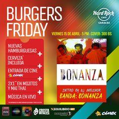 """Hard Rock Cafe Caracas presenta: """"Burgers Friday con Bonanza"""" http://crestametalica.com/events/hard-rock-cafe-caracas-presenta-burgers-friday-con-bonanza/ vía @crestametalica"""