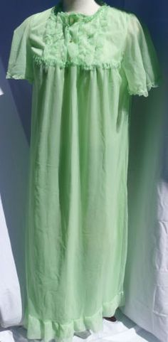 57133a807c Vtg Peignoir Nightgown St Michael Mint Green Chiffon Over Nylon Ruffles  Size M