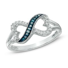 Zales Enhanced Blue and White Diamond Accent Sideways Cross Ring in Sterling Silver Eu44D5qeWB