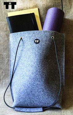 Felt shopper yoga bag with black leather straps. от TTdsgn на Etsy