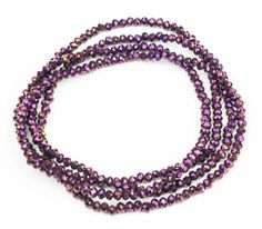 Cool Lang elastisk halskæde med smukke lilla krystal perler bitavant Modetøj til Damer i luksus kvalitet