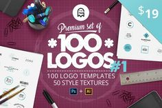 Premium set of 100 Logos #1 by Graphic Ghost on @creativemarket