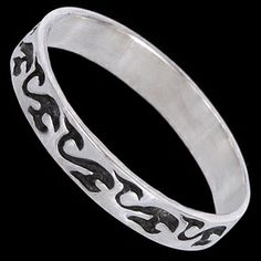 Silver ring, ring Silver ring, Ag 925/1000 - sterling silver. Band with decorative pattern. Width approx. 3mm.