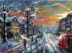 Original ACEO A Christmas Story Home Vintage House Snow Street USA  M. Mishkova