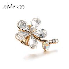 emanco Free Shipping Women Christmas Gift Fashion Alloy Silver Flower Crystal Jewelry Rhinestone Brooch Women Brooch For Wedding