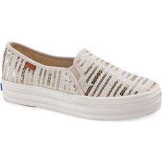 Keds Women's Triple Decker Linen and Sequin Sneakers ($60) ❤ liked on Polyvore featuring shoes, sneakers, natural, keds shoes, rubber sole shoes, slip-on sneakers, studded sneakers and studded shoes