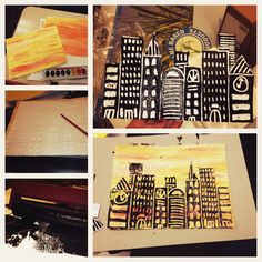 Printmaking cityscapes...Orange, yellow, and red watercolor adds a sunset backdrop.  Then make the cityscape imprint in the foam using the end of the paintbrush and cut it out.  Use a hard rubber brayer to apply thick ink