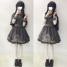 Sweet Lolita Vintage Preppy style Suspender Dress+Shawl+Blouse Gothic#SX-557