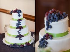 Grapes adorn this lovely vineyard wedding cake | Photo by http://mathyshootspeople.com