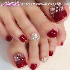 Pedicure Ideas Red Toenails Summer Ideas For 2019 Pretty Toe Nails, Cute Toe Nails, Gorgeous Nails, Pretty Toes, Pedicure Nail Art, Toe Nail Art, Acrylic Nails, Nail Nail, Xmas Nails