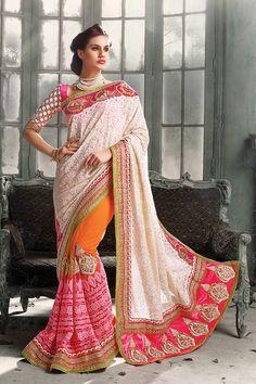 Exquisite Orange, Pink And Off-White Designer Saree - New Arrivals