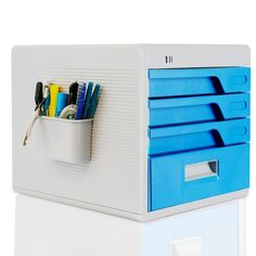 Office Supplies Desk Organizer with Drawer Cabinet Lock - Home Desktop File Storage Box with 4 Locking Drawers - Organization Great for Filing & Organizing Paper Documents, Tools, kids Craft Supplies