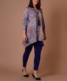 a4fa87ed5b1 Lbisse Light Blue   Rust Paisley Sidetail Tunic - Plus