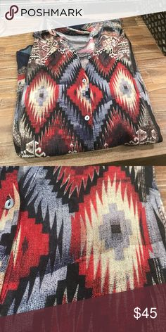 Zara Western Aztec Button Up Blouse Gorgeous and Beautiful! For the trendy glamour cowgirl! ❤️Well Kept Items ⭐️Top Rated Seller 💰Accepts Offers 🎱Only Fair Pricing 🛍Bundle and Save ⚡️Fast Shipping Zara Tops