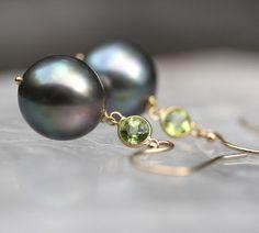 Kensington  Black Tahitian Pearls Untreated by modesteparisienne, $245.00