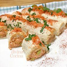Estos rollitos de pan de molde salados son muy fáciles de preparar y se pueden rellenar de diferentes ingredientes a tu gusto.