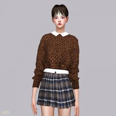 Crop Knit Sweater With Shirts at Marigold via Sims 4 Updates