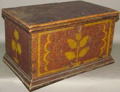 "Horst Auctions 2/11/17 lot 335.  Estimate: $400 - 600. Realized: $1,700.   Description: ca. 1820-1850; simple softwood miniature blanket chest attributed to Jacob or John Stirewalt of New Market, VA with fairly large dovetails in red paint & yellow stencil decoration of 5 leaf flower in planter on front & back of chest & stencil of 3 head tulip in planter on ends, 14 1/2""x 9 1/4""x 8"".  Condition Report: Extensive wear to surface; No feet; Interior shows possible damage during construction."