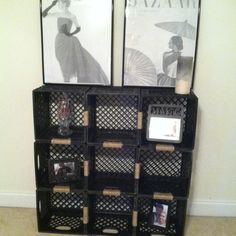 Loveeeee my new shelf ! And the best part was it only cost me $2 for the twine ! Milk crates were free.