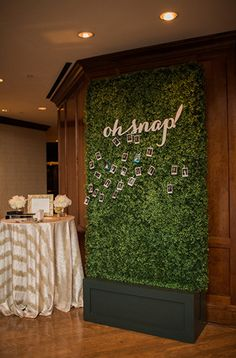 Tisch Von Oben Every wall was covered in green boxwood panels, every table had an array of fresh white floral centerpieces, and thousands of flowers were hung above the dance floor at Amy and Jacob's wedding. Flower Wall Wedding, Floral Wedding, Wedding Flowers, Green Wedding, Wedding Greenery, Trendy Wedding, Unique Weddings, Real Weddings, Wedding Unique