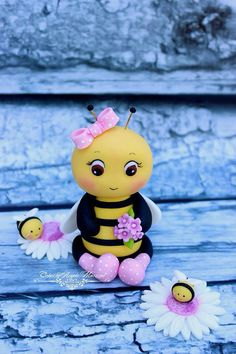Fondant Bee cake topper by CakesbyAngela on Etsy