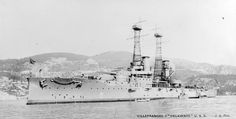 NH 88519: USS Delaware (BB-28). At Villefranche, France, circa 1913. Photographed by J. Giletta, Nice. Donation of John M. Alexy, 1977. U.S. Naval History and Heritage Command Photograph.
