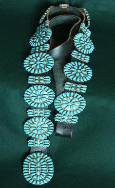 Navajo Turquoise Concho Belt - ladies -   20 conchos including buckle