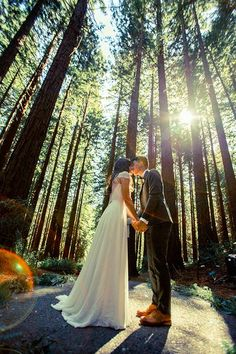 This couple said I do at a naturally beautiful wedding surrounded by towering trees.