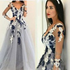 2017 Long Sleeves Appliqued Ball Gown V-Neck Unique Formal Prom Dress. PD0300