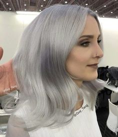 Backstage at TopHair show in Germany with Olaplex! Using Kenra metallics and Demi on hair lifted to a level 10 Silver Hair Toner, Silver Grey Hair, White Hair, Long Auburn Hair, Guy Tang Hair, Platinum Blonde Hair Color, Hair Color Formulas, Mom Hairstyles, Wedding Hairstyles