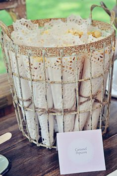 Caramel corn wrapped in white paper doilies at a Shabby Chic birthday party!  See more party ideas at CatchMyParty.com! Paper Doilies, Shabby Chic Birthday, Birthday Parties, Shabby Chic Interiors, Interior Design, Lighting, House Design, Ideas, Home Decor