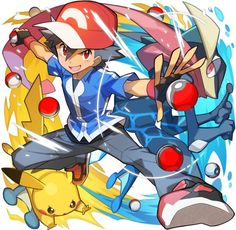 Anime picture pokemon pokemon xy nintendo pikachu satoshi (pokemon) greninja saitou naoki single looking at viewer short hair open mouth black hair red eyes :d spread arms >:d boy gloves animal water 465207 en Pikachu Pikachu, Ash Pokemon, Pokemon Zelda, Kalos Pokemon, Pokemon Fan Art, Cool Pokemon, Pokemon Games, Pokemon Ash Greninja, Charmander
