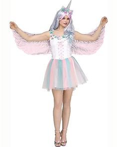 Transform into what you've always dreamed of becoming this Halloween. Slip on this Adult Sparkling Unicorn Costume with matching wings and unicorn horn headband, and people will be mistaking you for a real mystical creature left and right. Unicorn Halloween Costume, Best Halloween Costumes Ever, Cool Costumes, Adult Costumes, Costumes For Women, Costume Ideas, Halloween Ideas, Women Halloween, Marshmallow Costume