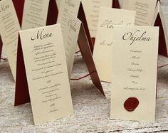 Wedding menu and program Wedding Menu, Wedding Planning, Dream Wedding, Wedding Ideas, Menu Cards, Table Cards, May Weddings, Drink Menu, Wedding Table Decorations