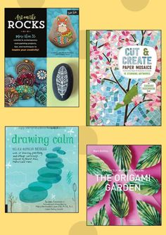 4 Meditative Arts and Crafts books on how to find peace and stress release through the art of creation. Book Crafts, Arts And Crafts, Paper Mosaic, Finding Peace, Auntie, Book Review, Painted Rocks, Giveaways, Origami