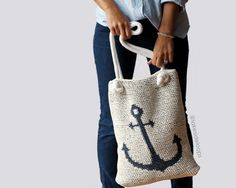 The perfect crochet summer bag for trips to the market, beach, or pool! This digital crochet pattern includes instructions for the reversible anchor tote AND the crocheted rope handles. You can even modify the pattern to make a nautical pillow/cushion cover for the cottage. SPECIAL DISCOUNTS: Buy 2 patterns get 1 free! <Enter coupon code 1FREE at checkout> Buy 3 patterns get 2 free! <Enter coupon code 2FREE at checkout> Buy 4 patterns get 3 free! <Enter coupon code 3FREE a...