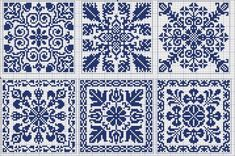 Square tiles - Chart for cross stitch or filet crochet. Cross Stitch Samplers, Cross Stitch Charts, Cross Stitch Designs, Cross Stitching, Cross Stitch Embroidery, Embroidery Patterns, Cross Stitch Patterns, Blackwork Patterns, Knitting Charts