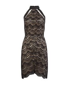 Girl in Mind Black Lace Mesh Panel Dress | New Look