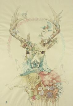 Animals, deer, wolf, bird. Color pastel. Ciervo, lobo, pájaro.