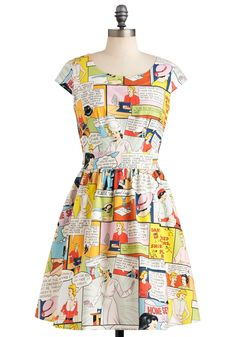 Sew It Would Seamstress Dress - Multi, Novelty Print, Party, A-line, Cap Sleeves, Mid-length, Cotton, Cutout, Vintage Inspired, 50s