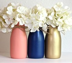 Milk Bottles Navy and Coral and Gold Baby Shower Decorations Centerpiece   by HalfPintPMB