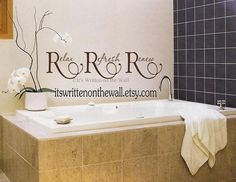 Relax Refresh Renew for Bathroom  8x33 by ItsWrittenOnTheWall, $18.99