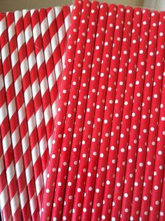 Red and white Paper Straws red and white polka by NiuDesigns, $4.50