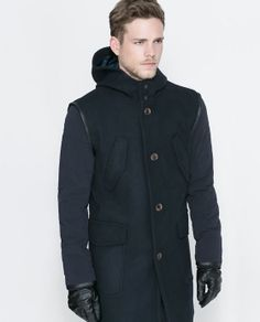 WOOLLEN COAT WITH CONTRASTING SLEEVES- ZARA