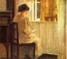 Carl Holsoe  1863-1935  Girl reading in a sunlit room
