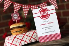 DIY Printable Personalized Party Set Summer BBQ red gingham down home old fashioned Cook out