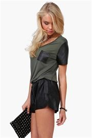 50 Shades Leather Tee in Olive