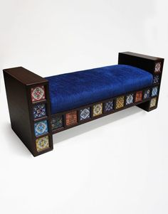 A Custom Bench Fabric Cushion Tile Trim A beautiful bench seat that will bring color and life to your living room with its floral printed tiles. Desert Design, Tile Trim, Custom Made Furniture, Bench Seat, Cushion Fabric, Floral Prints, Cushions, Couch, Living Room