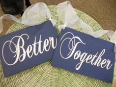 Wedding Chair Signs Better Together Mr and Mrs by SweetDayDesigns